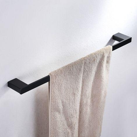 Toallero de Barra de Acero Inoxidable de Lavabo 60cm Color Negro para Baño