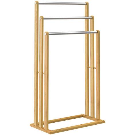 Toallero de madera bambú con valleros de acero inoxidable capacidad de carga de hasta 15Kg 46x24x84cm Baño