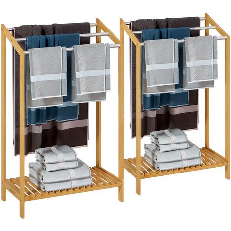 Toallero de madera bambú con valleros de acero inoxidable capacidad de carga de hasta 15Kg 51x31x85cm 2x