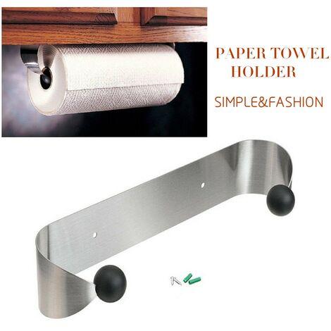 Toallero de papel de acero inoxidable Soporte de rollo montado en la pared debajo del gabinete Organizador Percha Cocina Hogar
