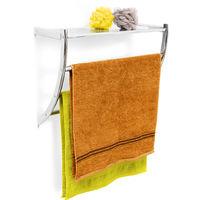 – Toallero de pared, acero cromado, 43 x 56 x23 cm, con 3 barras para las toallas, cuarto de baño, 1.5 Kg, color plateado