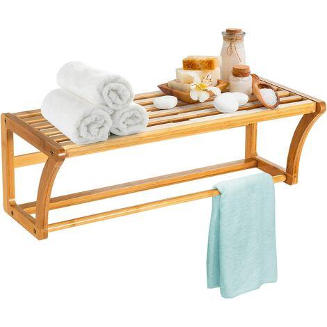 Toallero de Pared de Bambú Estante Multiuso para Entrada Vestíbulo Cocina Baño 60 x 26 x 20,5 cm
