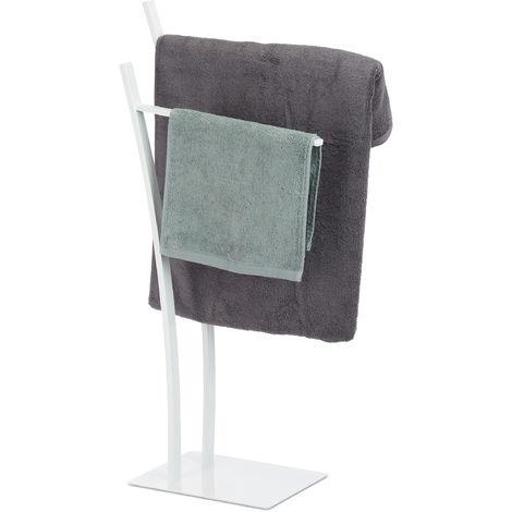 Toallero de Pie 2 Brazos, Acero, Blanco, 88 x 43 x 24 cm