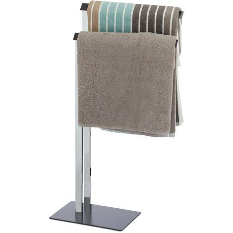 Toallero de Pie 2 Brazos, Acero, Plateado-Gris Antracita, 82 x 46 x 20 cm