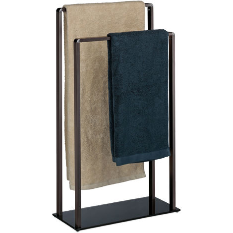 Toallero de Pie con 2 Barras, Metal-Cristal, Bronce-Negro, 80 x 45 x 20 cm