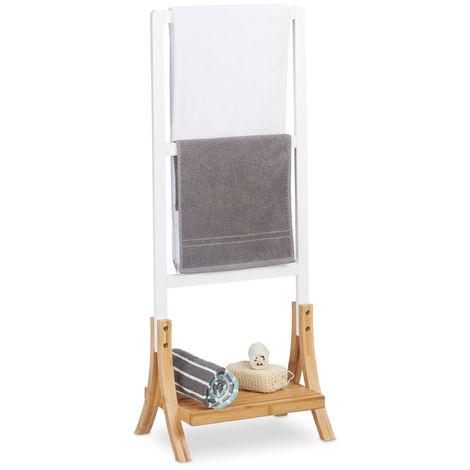 Toallero de Pie con 3 Barras y Repisa, DM y Bambú, Blanco y Marrón, 104 x 41 x 28,5 cm