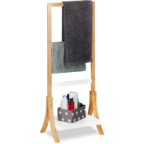Toallero de Pie con Baldas y 3 Barras, Bambú y DM, Marrón y Blanco, 103 x 41 x 28 cm