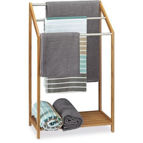 Toallero de pie de bambú con 3 barras, repisa, moderno, 85 x 52 x 31 cm, natural