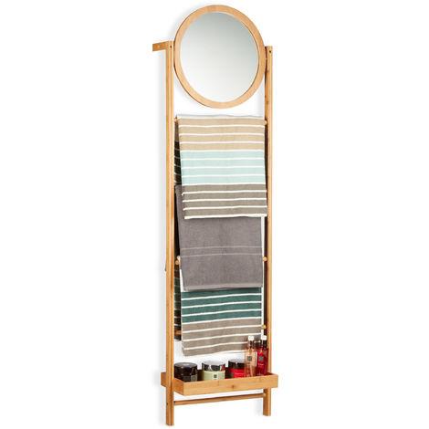 Toallero de Pie Escalera con Espejo, Bambú, Beige, 160 x 45 x 23.5 cm