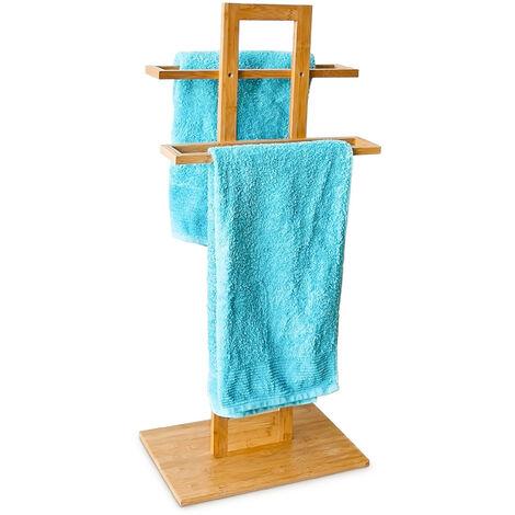 - Toallero de pie hecho de bambú con medidas 37 x 25 x 85 cm 2 barras para el cuarto de baño, color natural