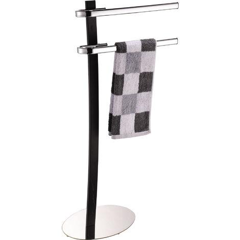 Toallero de pie MSV de acero cromado en color negro 44 x 23 x 89 cm