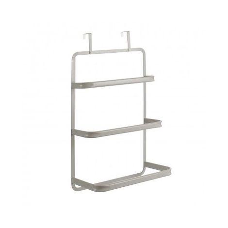 Toallero de puerta con 3 barras y 2 ganchos de sujeción. De acero inoxidable. Ideal para secar toallas y pequeñas prendas.Blanco