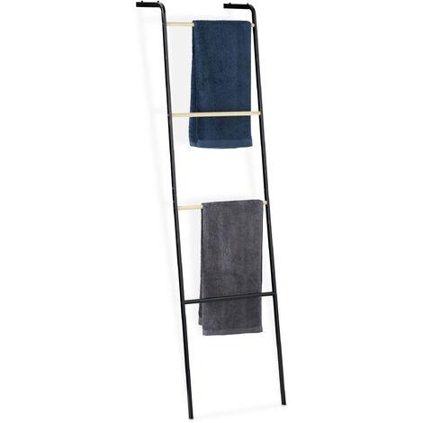 Toallero Escalera, 4 Barras, Soporte Toallas de Pie, Colgador de Ropa, Metal, 1 Ud., 160x40x26 cm, Negro