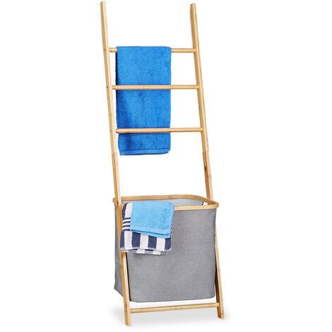 Toallero Escalera con Cesto para Colada, Bambú-Tela, Beige-Gris, 139 x 43.5 x 33 cm