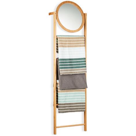 Toallero Escalera con Espejo y 4 Barras, Bambú, Beige, 160 x 45 x 15 cm