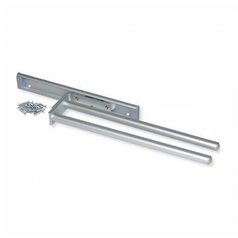 Toallero extensible Emuca con 2 brazos largo 440 mm en aluminio anodizado mate