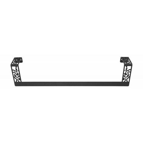 Toallero recto de 45 cm Art Déco Negro forja fijación opcional con adhesivo - CM Baños