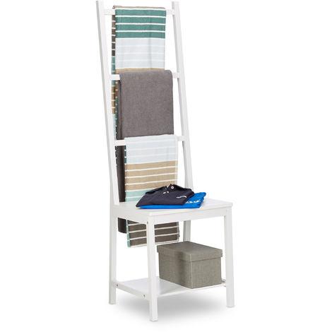 Toallero, ropero, toallero de pie, bambú, aprox. 133 x 40 x 42 cm, blanco