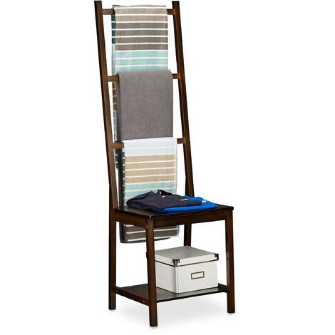 Toallero, ropero, toallero de pie, bambú, aprox. 133 x 40 x 42 cm, marrón oscuro