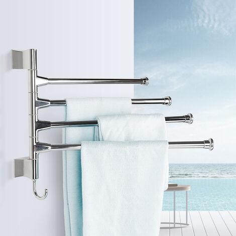Toallero Secador de Toalla Baño Repisa Barra Estante con 4 toalleros giratorio 360 ° inoxidable
