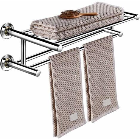 Toallero Secador de Toalla Baño Repisa Barra Estante de Pared 2 Estantes Acero Inoxidable
