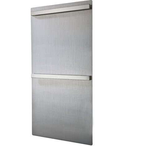 Toallero Secatoallas eléctrico de mural ENZ de gran superficie vertical con dos barras para toallas. De bajo consumo 120W, fabricado en aluminio con acabado gris cepillado