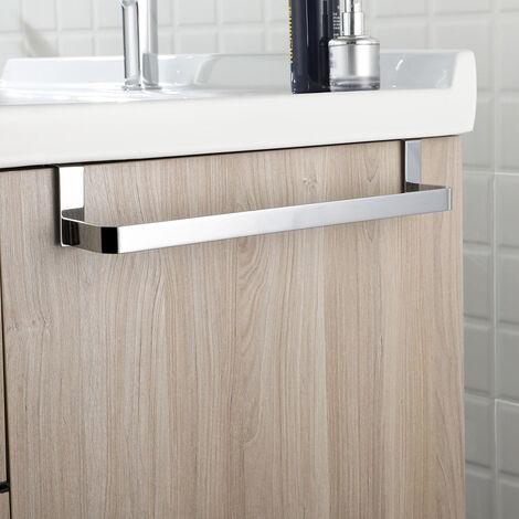Toallero sin taladros para mueble de baño. Fabricado en Acero Inox. Acabado cromo brillo. Largo 29cm. No necesitas hacer agujeros. Kibath