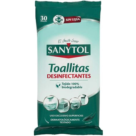 Toallitas Desinfectantes Todas las Superficies SANYTOL 24+6 GRATIS Uds