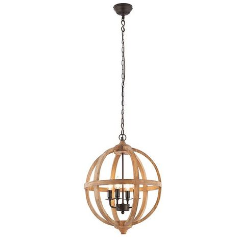Toba Pendant Light Globe Shape Ceiling Light 4Lt Candle Natural Mango Wood