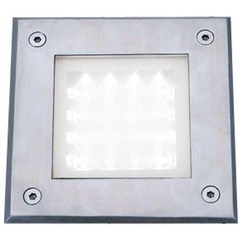 Tobillo Led Lámpara empotrable para interiores y exteriores, cuadrada, acero inoxidable, LED blanco