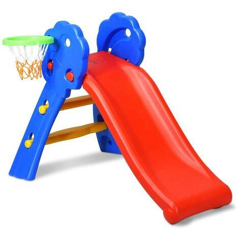 Toboggan Aire de Jeux Pliable avec Panier de Basket en Plastique Toboggan pour Enfants 3-8 Ans Multicolore 106*59*77cm