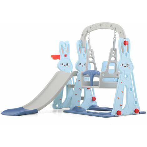 Toboggan avec Petit Balancoire pour enfant Aire de Jeux 2-8 Ans 142x135x110cm Bleu