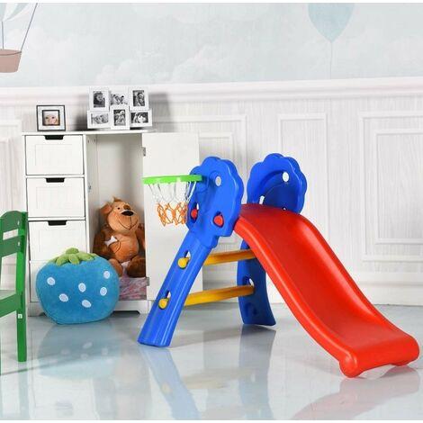 Toboggan Enfant Pliable en HDPE avec Panier de Basket, 2 en 1 Toboggan avec 2 Marches et Charge Max 50 KG pour Garçons Filles 3-8 Ans, Idéal pour l'Intérieur et l'Extérieur, Coloré