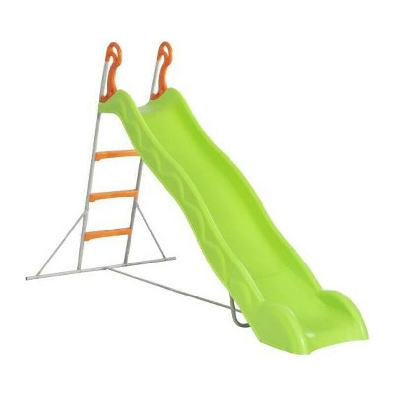 Trigano - Toboggan LINOU de 2,63m de glisse , coloris vert avec 3 echelons anti-derapants coloris orange, structure metal coloris gris.