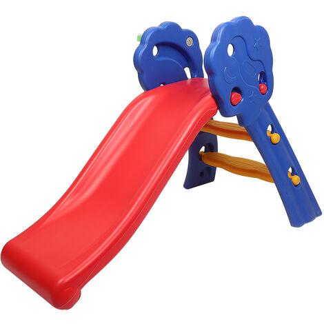 Toboggan pour Enfant, Aire de Jeux Pliable avec Panier de Basket, Polyvalent, Sûr et Large, pour Enfant de 3 à 8 Ans, Support de Poids de 50kg, Multicolore 106 x 59 x 77 CM