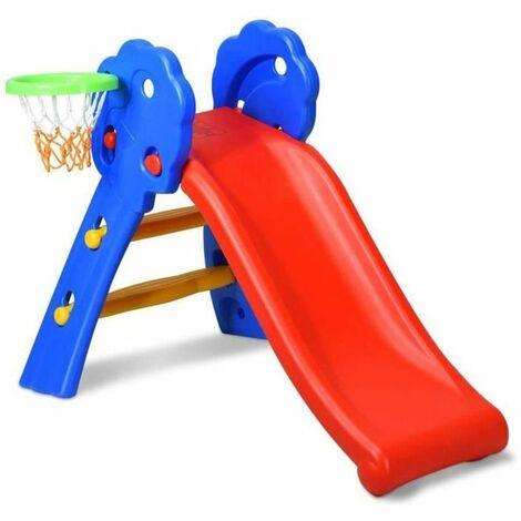Toboggan pour Enfants, Toboggan Amusant avec Panier de Basket, Toboggan Maternelle, Multifonction, Stable (jusqu'à 50 kg) - Rouge-bleu
