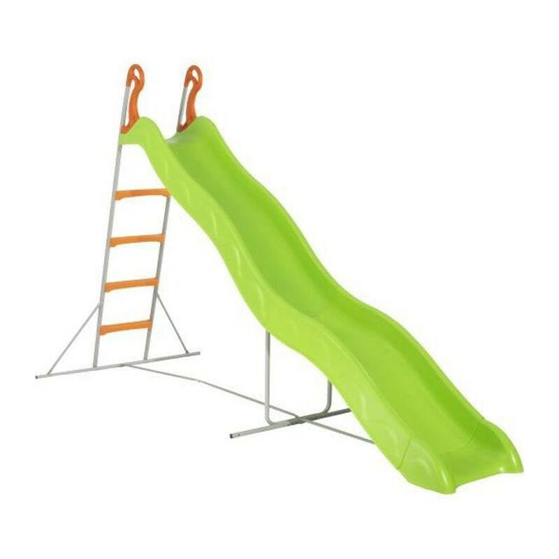 Trigano - Toboggan PYROU de 3,32m de glisse , coloris vert avec 4 echelons anti-derapant coloris orange, structure metal coloris gris.