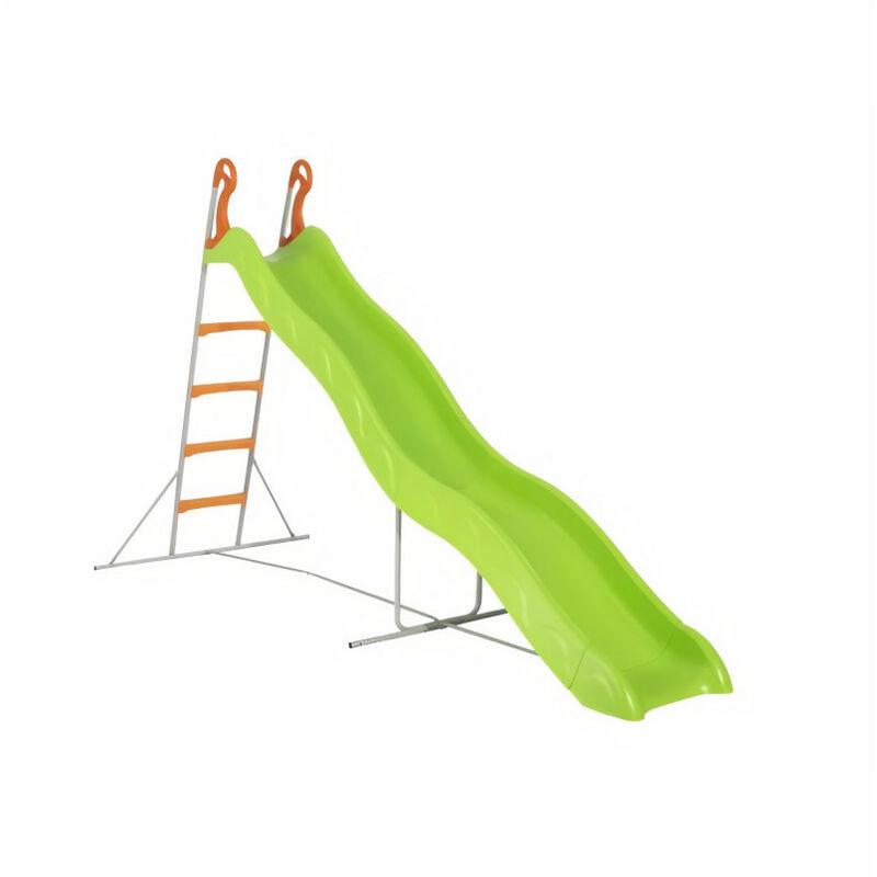Trigano - Toboggan PYROU de 3,32m de glisse , coloris vert avec 4 echelons anti-dérapant coloris orange, structure métal coloris gris.