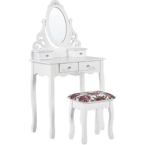 Tocador 4 cajones con espejo ovalado y taburete blanco AMOUR