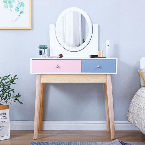 Tocador con 2 Cajones (Azul y rosa)  Mesa de Maquillaje /Juego de Tocador   Tocador Moderno Madera Blanco 80x40x130cm