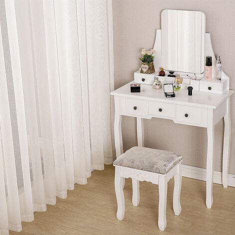 Tocador con cajones Mesa de Maquillaje con Espejo sin Marco para Dormitorio,Vestidor- Blanco 80x40x141cm