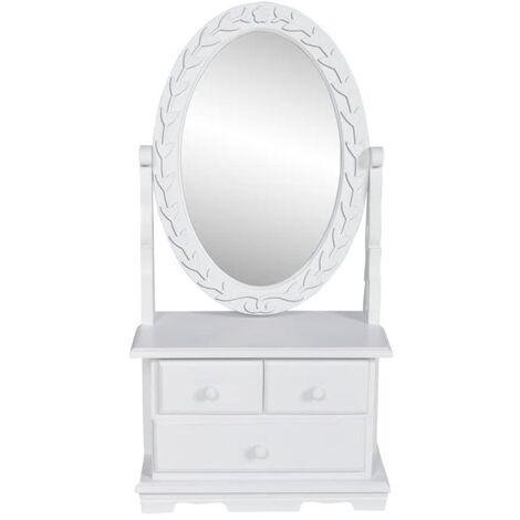 Tocador con espejo abatible ovalado de MDF