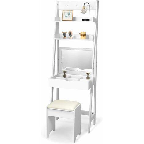 Tocador con Espejo Plegable Taburete y Estantes Mesa de Maquillaje Escritorio para Habitación Dormitorio Color Blanco
