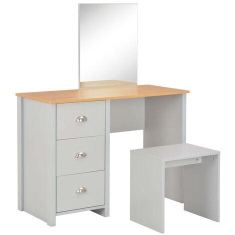 Tocador con espejo y taburete gris 104x45x131 cm