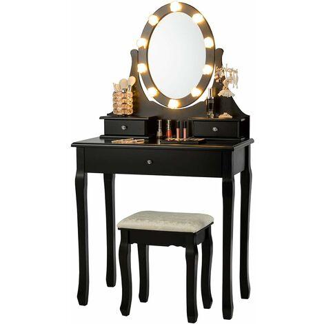 Tocador con Iluminación LED Mesa de Maquillaje con Espejo/Taburete y Cajones Mesa Cosmética para Dormitorio