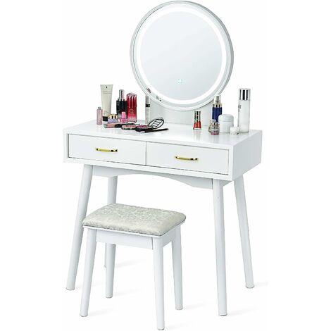 Tocador con Taburete con Espejo Redondo y LED Ajustable de 3 Colores Mesa de Maquillaje con Dos Cajones Mesa de Cosm�ticos para Dormitorio