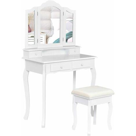 Tocador con Taburete y 4 Cajones Mesa de Maquillaje con Espejo Extraíble Mesa de Cosméticos Belleza Almacenamiento Blanco