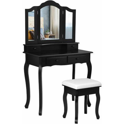 Tocador con Taburete y 4 Cajones Mesa de Maquillaje con Espejo Extraíble Mesa de Cosméticos Belleza Almacenamiento Negro