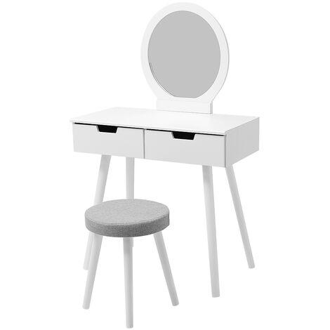 Tocador de diseño - 2 cajones con toboganes - Espejo redondo - taburete acolchado - 80 x 40 x 125 cm (L x W x H)