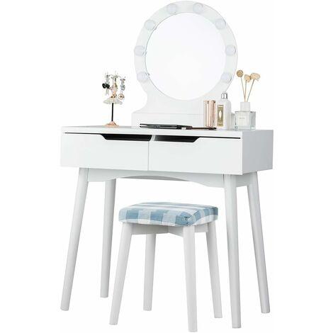 Tocador de Maquillaje con 8 Bombillas de LED,Espejo y Taburete Mesa de Cosmético con 2 Cajones para Dormitorio Habitación